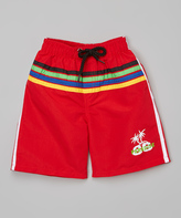 Sweet & Soft Red Stripe Palm Trees Boardshorts - Kids