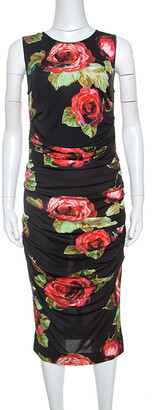 Dolce & Gabbana Floral Print Ruched Sleeveless Dress M