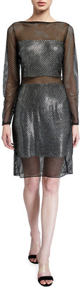 SHO Glimmer Net Illusion Long-Sleeve Sheer Dress