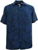 Vintage Silk Mens Silk Linen Blend Hawaiian Camp Shirt Floral Casual