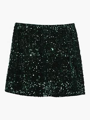Oasis Velvet Sequin Mini Skirt, Deep Green