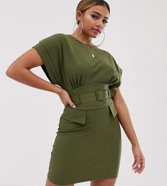 Asos DESIGN Petite exclusive belted mini utility pencil dress