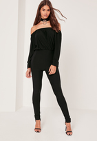 Missguided Crepe bardot long sleeve Romper black