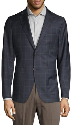 Saks Fifth Avenue Made In Italy Windowpane Check Wool Blend Sport Jacket