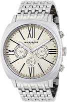 Akribos XXIV Men's AK636SSW Retro Swiss Multi-Function Dial Stainless Steel Pillow-Cut Bracelet Watch