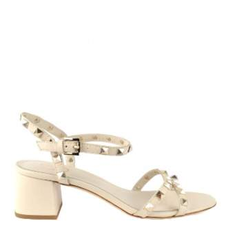 Ash Leather Iggy Studded Block Heel Sandals - 38 - White