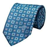 Versace Men's Medusa Logo Textured Square Pattern Silk Neck Tie Light Blue.