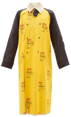 Off-White Logo-print Contrast-panel Trench Coat - Yellow Multi