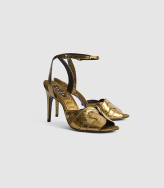 Reiss Amber - Strappy High Heeled Sandals in Gold