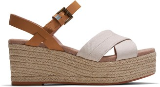 Toms Beige Shimmer Canvas and Leather Willow Women's Wedge Sandals