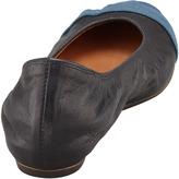 Lanvin Grosgrain Cap-Toe Leather Ballerina Flat, Black/Blue