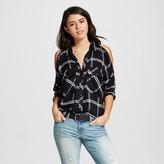 Women's Plaid Cold Shoulder Zipper Shirt Black - Alison Andrews