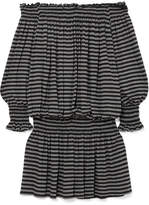 Norma Kamali Off-the-shoulder Striped Stretch-jersey Mini Dress - Charcoal
