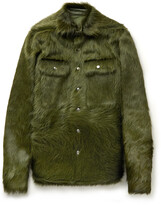 Thumbnail for your product : Rick Owens Leather-Trimmed Calf Hair Overshirt