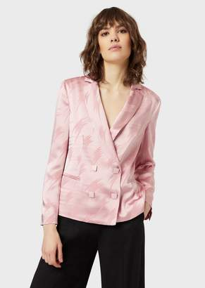 Emporio Armani Satin Double-Breasted Jacket With Jacquard Motif