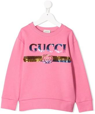 Gucci Kids Sequin Logo Sweatshirt