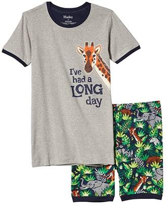 Hatley Jungle Safari Short Applique PJ Set (Toddler/Little Kids/Big Kids) (Blue) Boy's Pajama Sets