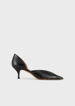 Emporio Armani Leather Court Shoes With Pleated Details