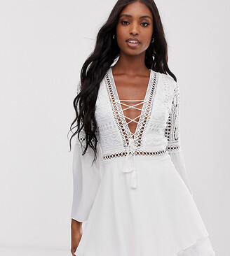Parisian Tall lace up tunic dress with crochet top and bell sleeves-White