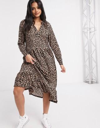ASOS DESIGN midi smock dress with grandad collar in animal print