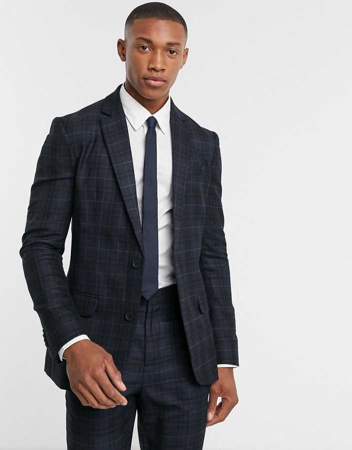 New Look check suit jacket in navy