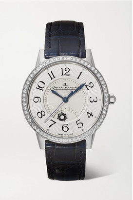 Jaeger-LeCoultre Rendez-vous Night & Day 34mm Medium Stainless Steel, Alligator And Diamond Watch - Silver