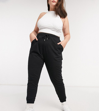 ASOS DESIGN Curve basic jogger with tie in organic cotton in black