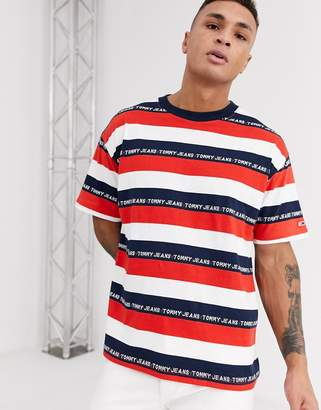 Tommy Jeans stripe t-shirt-Red