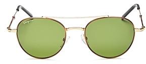 Salvatore Ferragamo Men's Timeless Brow Bar Round Sunglasses, 51mm