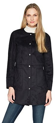 Ellen Tracy Women's Snap Front Reversible Suede Coat