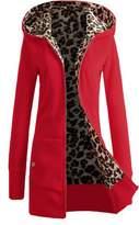 Etuoji Women's Plus Size Long Sleeve Hooded Down Coat Leopard Print Zip Front Winter Outwear Jacket