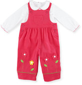 Florence Eiseman Corduroy Floral Overalls w/ Top, Fuchsia, Size 6-18 Months