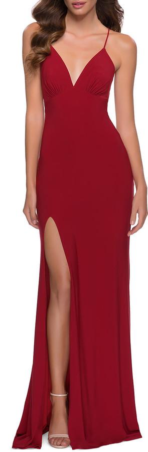 La Femme Lace-Up Back Matte Jersey Gown w/ Slit