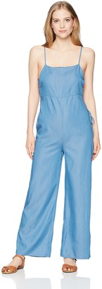 LIRA Women's Jaymes Chambray Laceup Playsuit Overall Jumpsuit