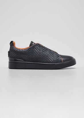 Ermenegildo Zegna Men's Triple-Stitch Woven Leather Sneakers