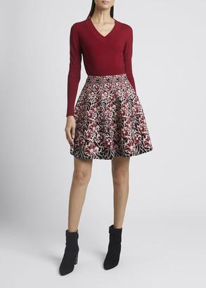 Alaia Floral Jacquard Mini Flare Skirt