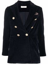 Thumbnail for your product : Circolo 1901 Velvet Double-Breasted Blazer