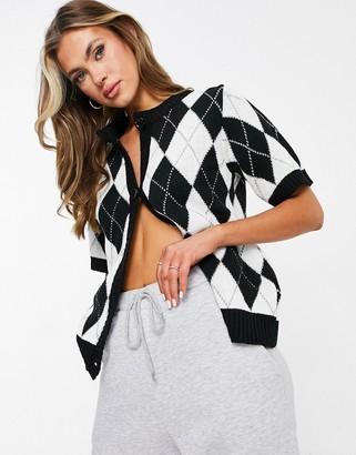 UNIQUE21 argyle short sleeve cardigan in black & white