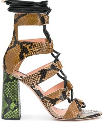 Rochas Snakeskin-Effect Sandals