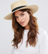 South Beach Straw Boater Hat with Black Band