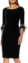 Thumbnail for your product : Gina Bacconi Women's Velvet Feather Trim Dress Cocktail