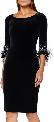 Gina Bacconi Women's Velvet Feather Trim Dress Cocktail