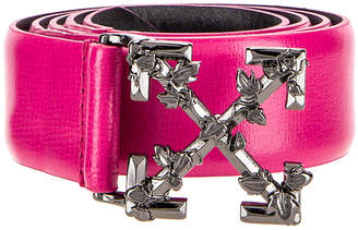 Off-White Off White Leather Industrial Belt in Fuchsia   FWRD