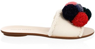 Loeffler Randall Gabi Leather Canvas Pom Pom Slides