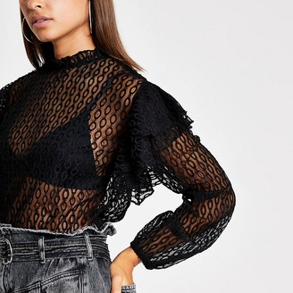 River Island Black lace long sleeve frill top