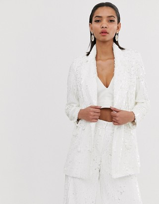 Asos Edition EDITION double breasted blazer in sequin-White