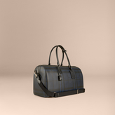 Burberry Leather Trim London Check Holdall, Blue