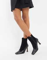 Asos Design DESIGN Emily premium leather heeled lace up boots in black