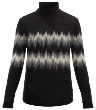 Saint Laurent High-neck Zigzag-intarsia Mohair-blend Sweater - Black Grey