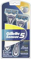 Gillette Sensor5 Men's Disposable Razors, 2 Count, Mens Razors / Blades